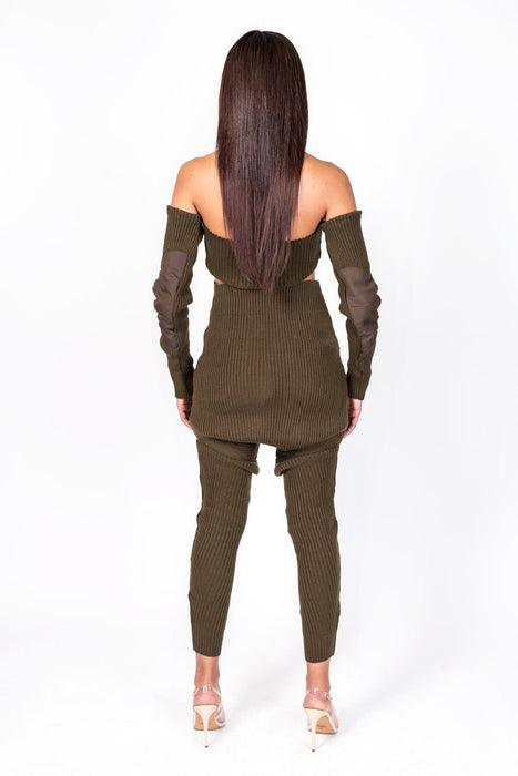 Brown Knit Collection Shoulderless Crop