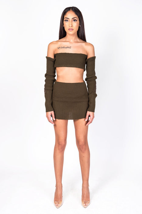 Brown Knit Collection Skirt