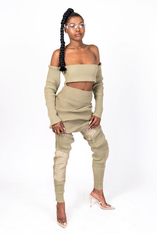 Tan Knit Collection Jogger