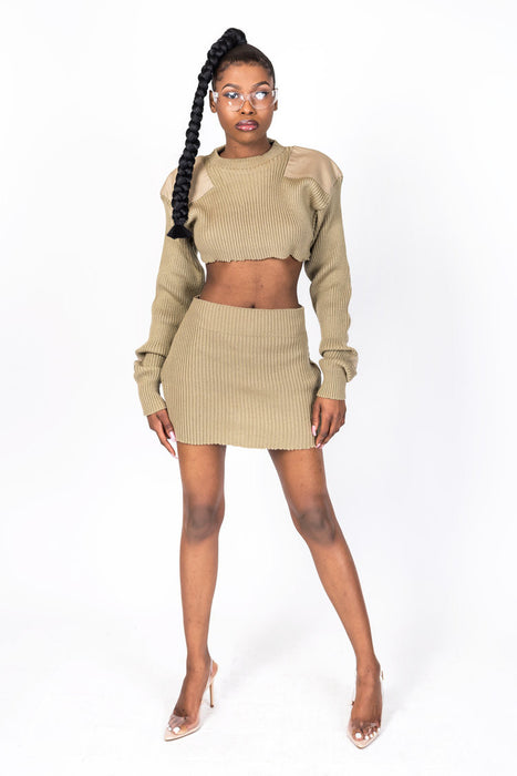 Tan Knit Collection Skirt