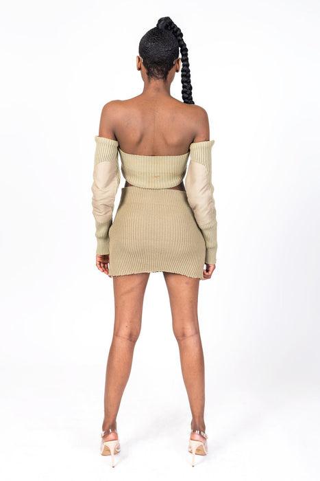 Tan Knit Collection Shoulderless Crop