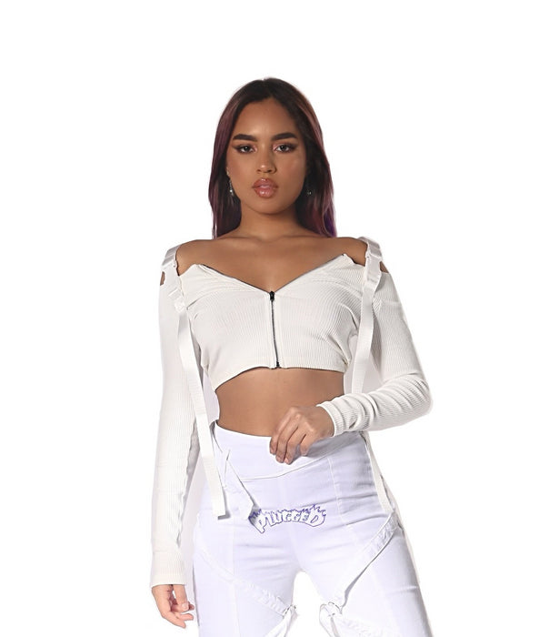 White Buckle Top