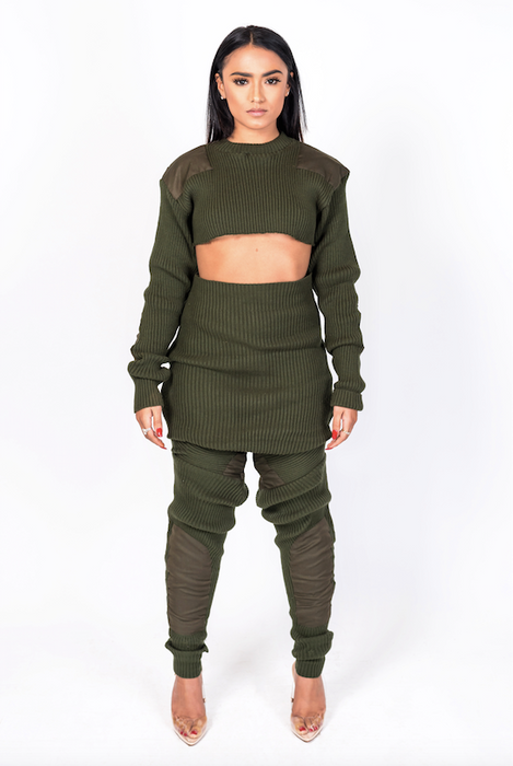 Green Knit Crop