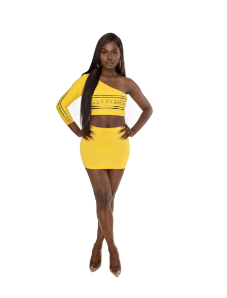 Plugged Nation Yellow One Shoulder Top