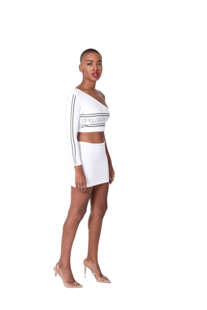 Plugged Nation White One Shoulder Crop