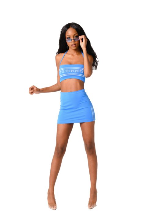 Plugged Nation Blue Push-Up Halter Top