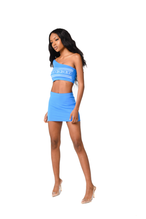 Plugged Nation Blue One Shoulder Crop
