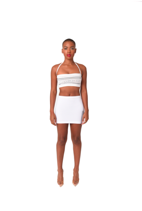 Plugged Nation White Push-Up Halter Top
