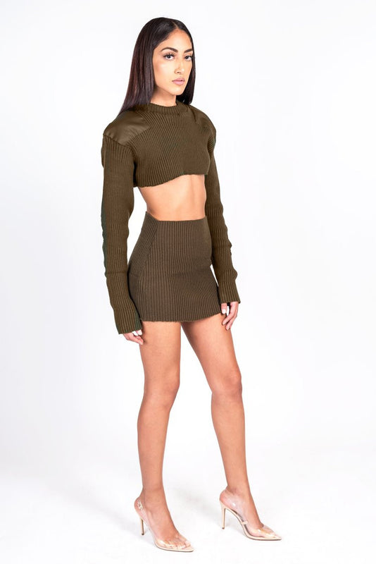 Brown Knit Collection Crop