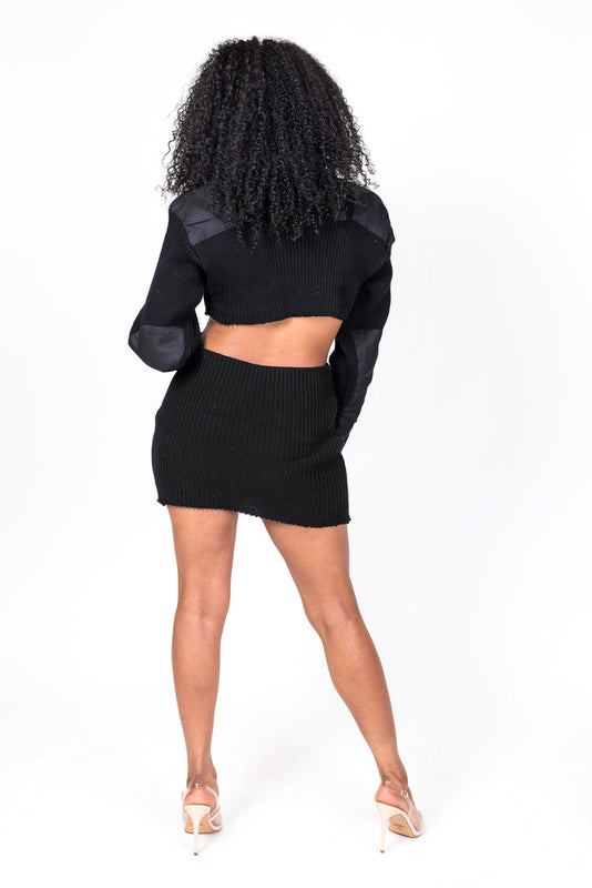 Black Knit Collection Crop