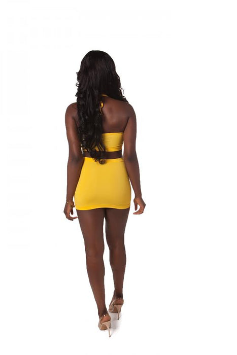 Plugged Nation Yellow Push-Up Halter Top
