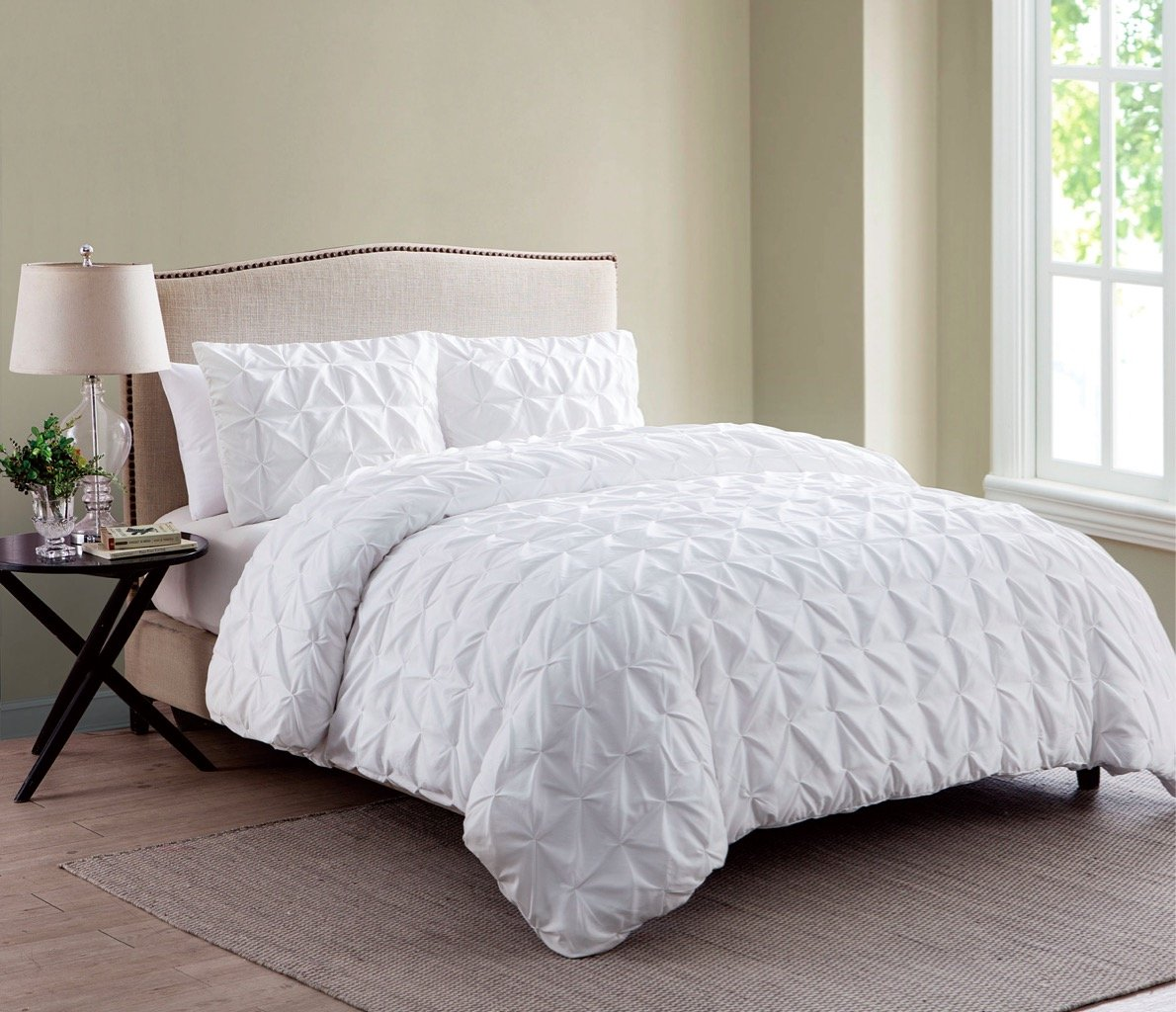 chic piece home pinched pinch decor queen veronica cover a night dp white duvet set nice pintuck pleat
