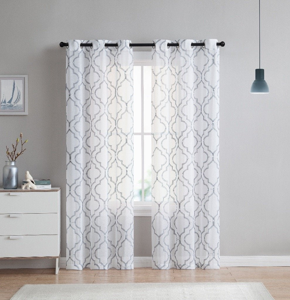 VCNY Home Charlotte Quatrefoil Embroidered Sheer Curtains Set Of 2