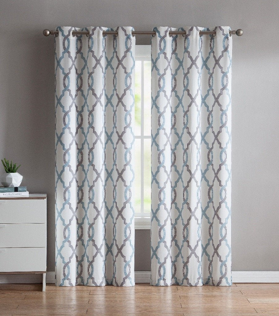 VCNY Home Caldwell Quatrefoil Printed Curtains Set Of 2