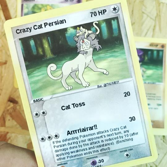 Crazy Cat Persian Trading Card