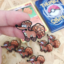 Santas Little Vulpix Pin, Sticker and Trading Card