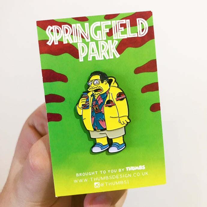 Dennis Comic Guy Springfield Park Pin Badge
