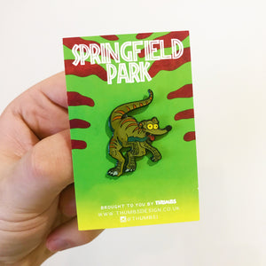 Santas Little Velociraptor Springfield Park Pin Badge