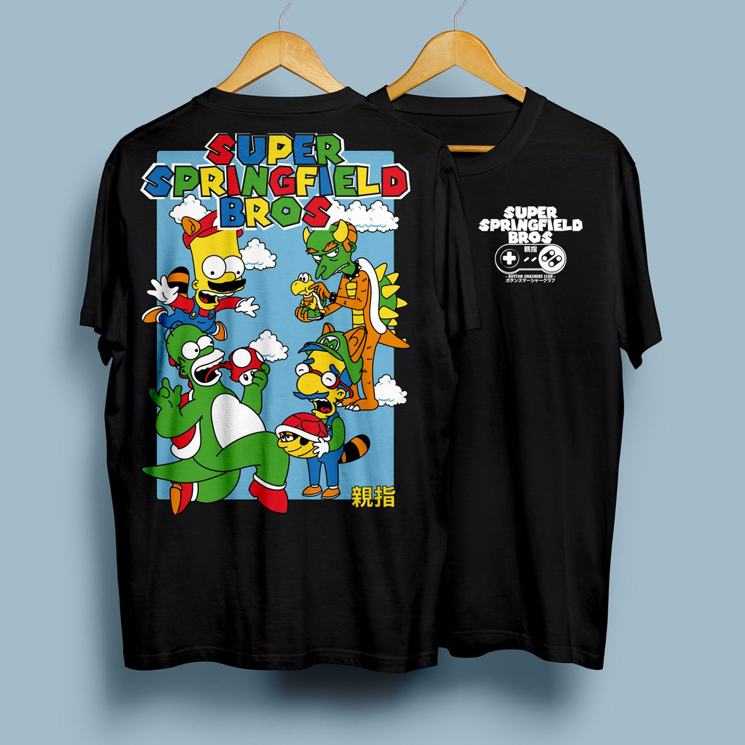 Super Springfield Bros T-Shirt Black with Back Print