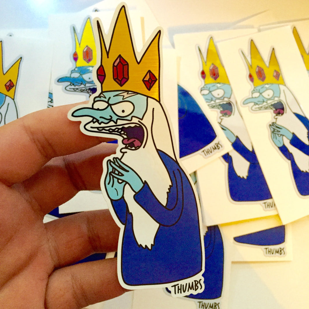Mr Burns x Adventure Time Brushed Alloy Die Cut Sticker