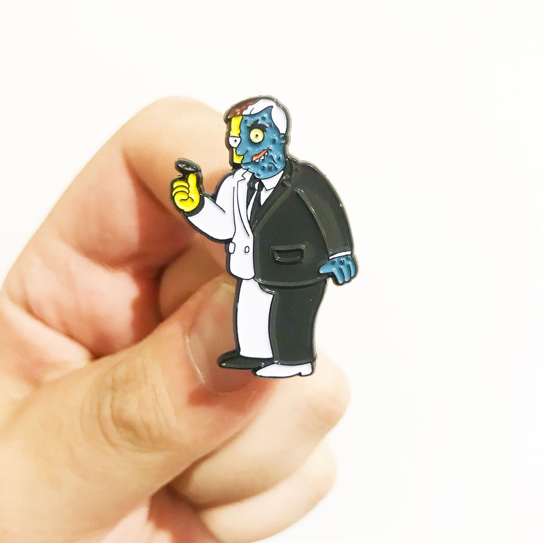 Two Face Hutz Gothamfield Pin Badge