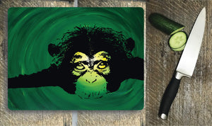 Glass Chopping Board - Chimpanzee - Glass Chopping Board