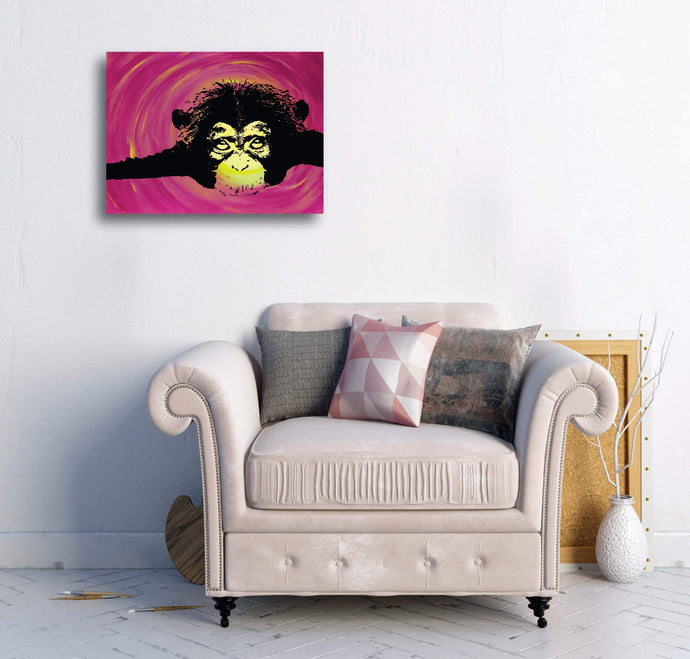 Luxury Stretched Canvas - Chimp - Luxury Canvas (Medium)