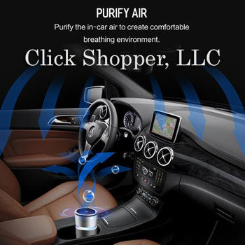ROCK Cup Car Air Purifier Charger, Alloy Air cleaner Car-charger, Strong Air Purifier with car phone charger function