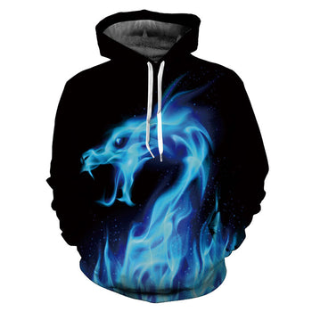 Hot Fashion Men/women 3d Hoodie/Sweatshirts Print Fire Dragon Hoodie