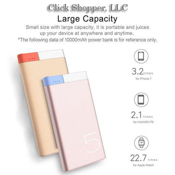 Slim 10000 mAh Power Bank, ROCK Portable Ultra-thin Polymer Metal Alloy Powerbank battery power bank 10000mah