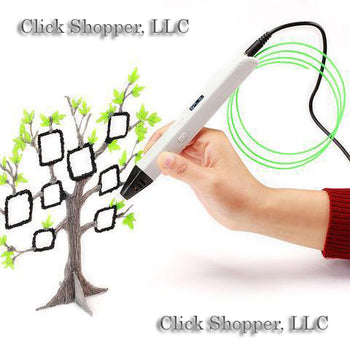 LED Smart 3D Drawing Pen+Free Filament+Adapter