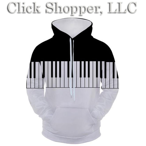 Cloudstyle 3D hooded sweatshirt Black White Piano Printing Style