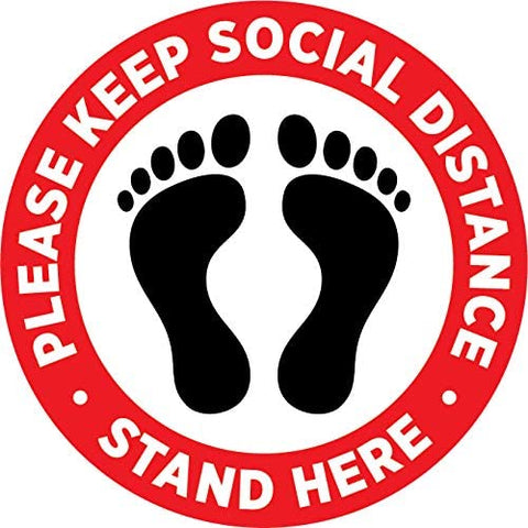 "PACK OF 10. Please practice social distancing floor sign. Covid 19 Coronavirus Safety sign. 7"" Circle Pressure sensitive adhesive. Pressure sensitive vinyl, made to walk on."