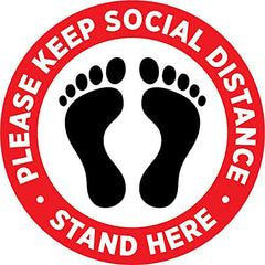 Social Distancing Floor Decal Sticker - Stop 6 Feet Apart Stand Please Wait Here Sign Safety Distance for Grocery Stores, Dr. Offices, Hospitals - 20 Inch Round - 5 Pack