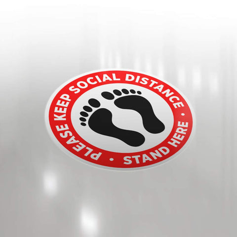 Pro-Graphx Social Distancing Floor Decal Sticker - Stop 6 Feet Apart Stand Please Wait Here Sign Safety