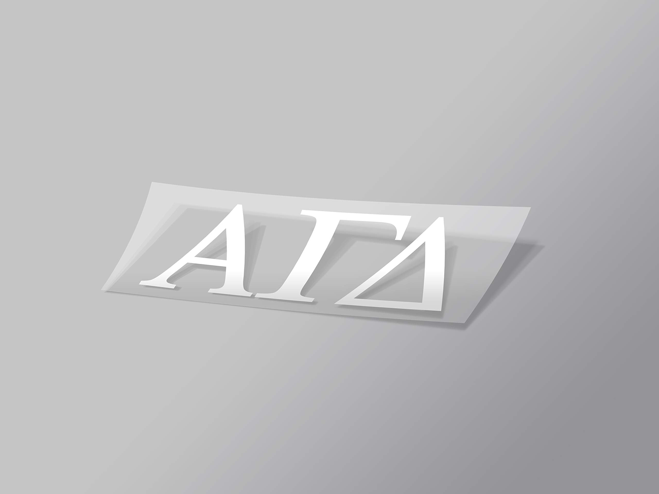 "Alpha Gamma Delta Sticker Greek Sorority Decal for Car, Laptop, Windows, Officially Licensed Product, Monogram Design 2.5"" Tall - White"