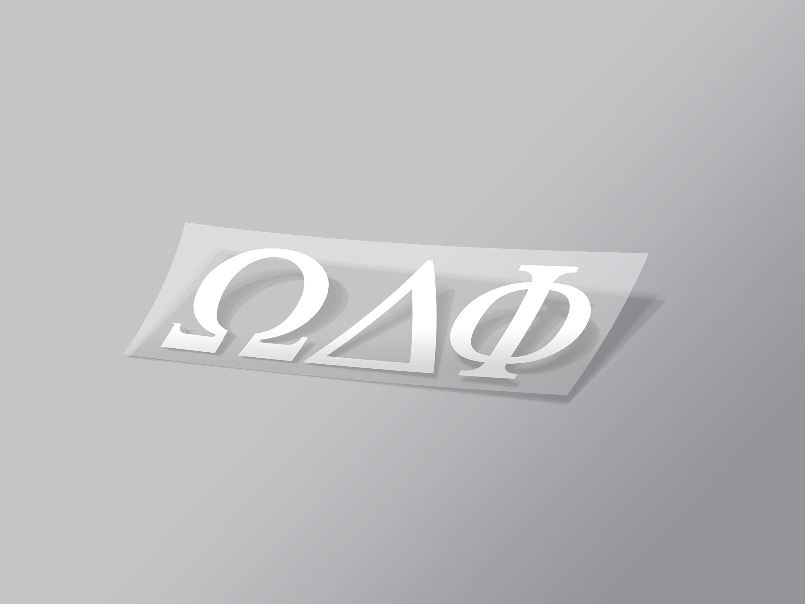 "Omega Delta Phi Sticker Greek Sorority Decal for Car, Laptop, Windows, Officially Licensed Product, Monogram Design 2.5"" Tall - White"