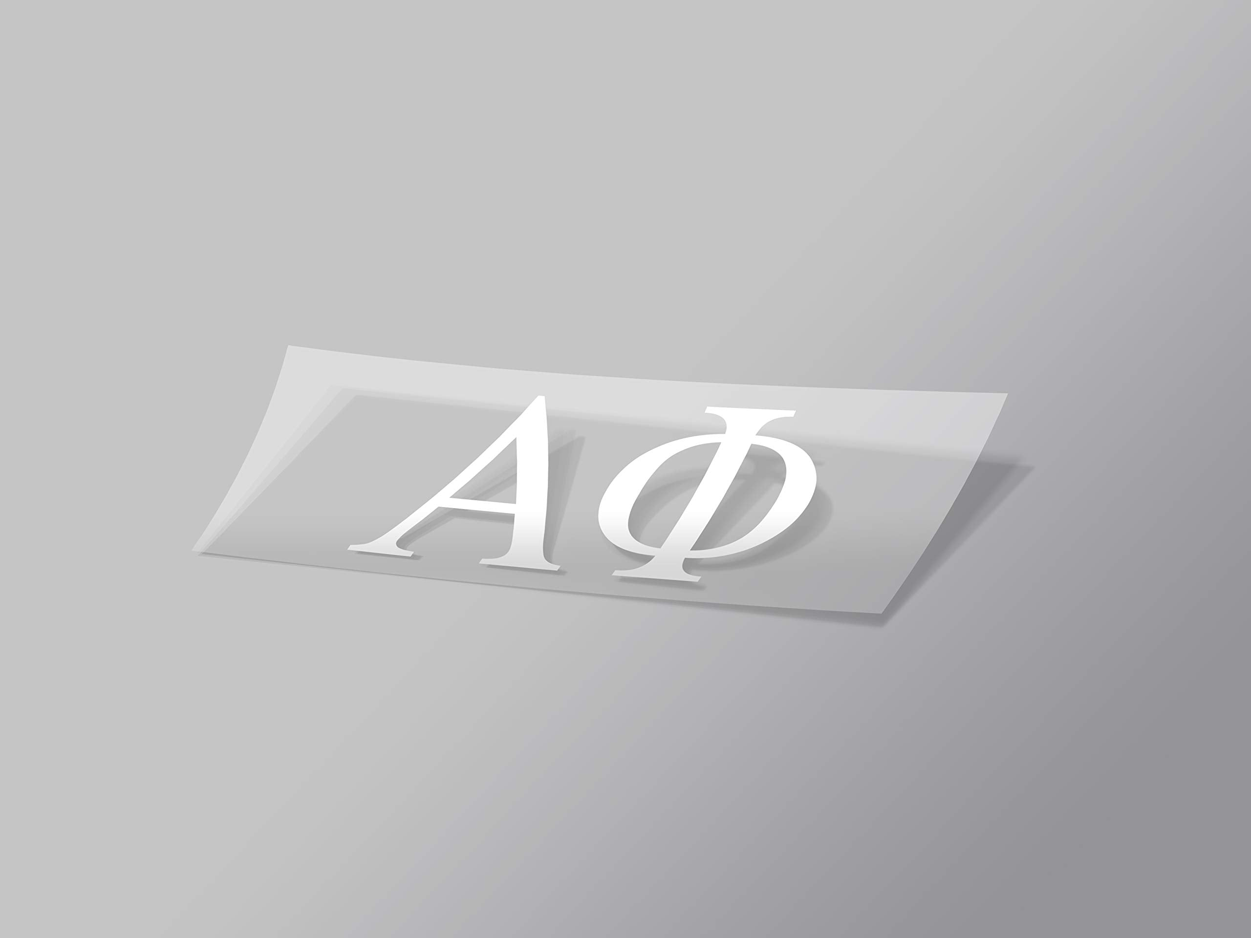 "Alpha Phi Omega Sticker Greek Sorority Decal for Car, Laptop, Windows, Officially Licensed Product, Monogram Design 2.5"" Tall - White"