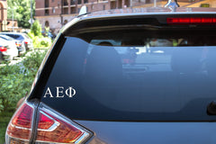 "Alpha Epsilon Phi Sticker Greek Sorority Decal for Car, Laptop, Windows, Officially Licensed Product, Monogram Design 2.5"" Tall - White"