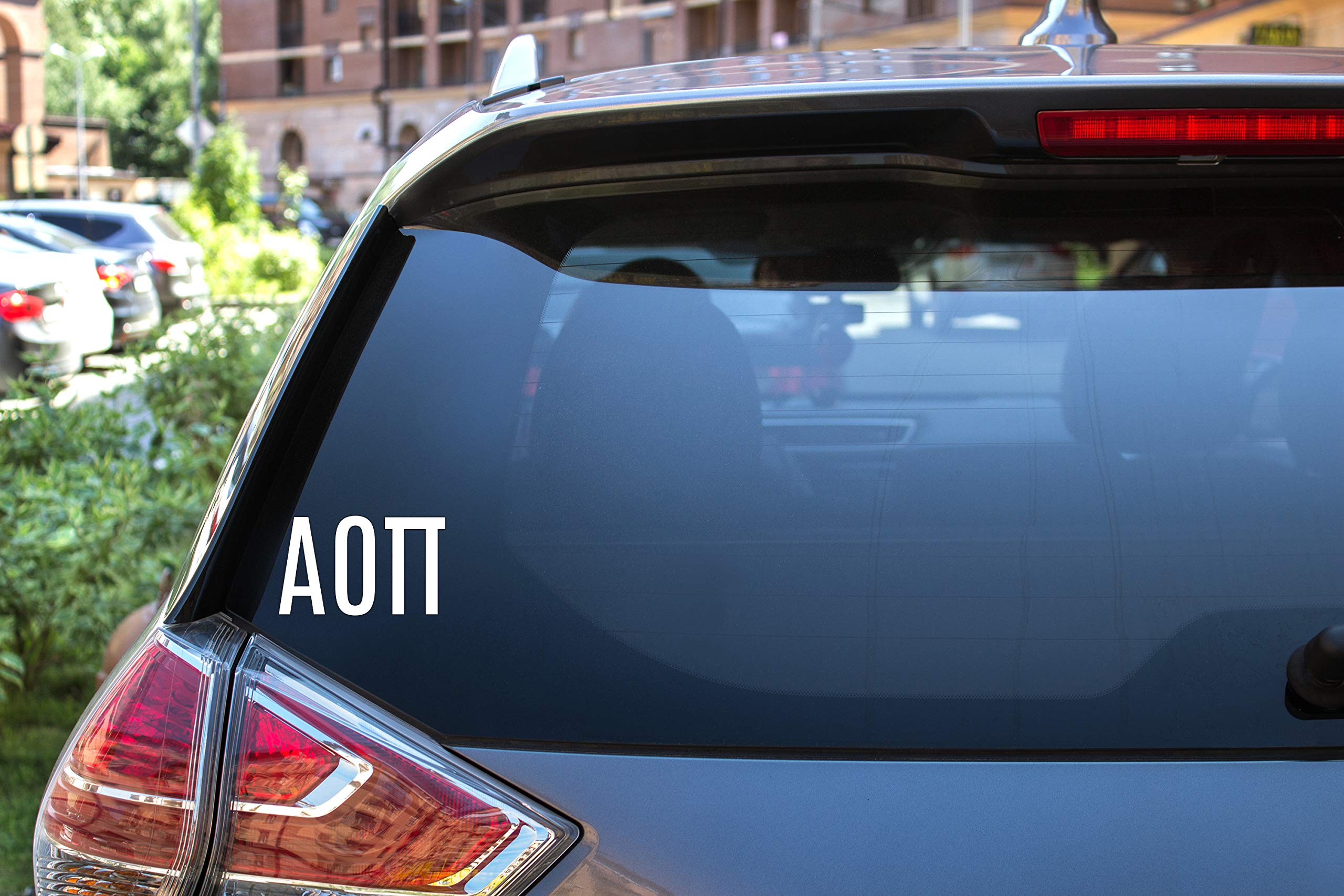 "Alpha Omicron Pi Sticker Greek Sorority Decal for Car, Laptop, Windows, Officially Licensed Product, Monogram Design 2.5"" Tall - White"