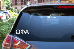 "Omega Phi Alpha Sticker Greek Sorority Decal for Car, Laptop, Windows, Officially Licensed Product, Monogram Design 2.5"" Tall - White"