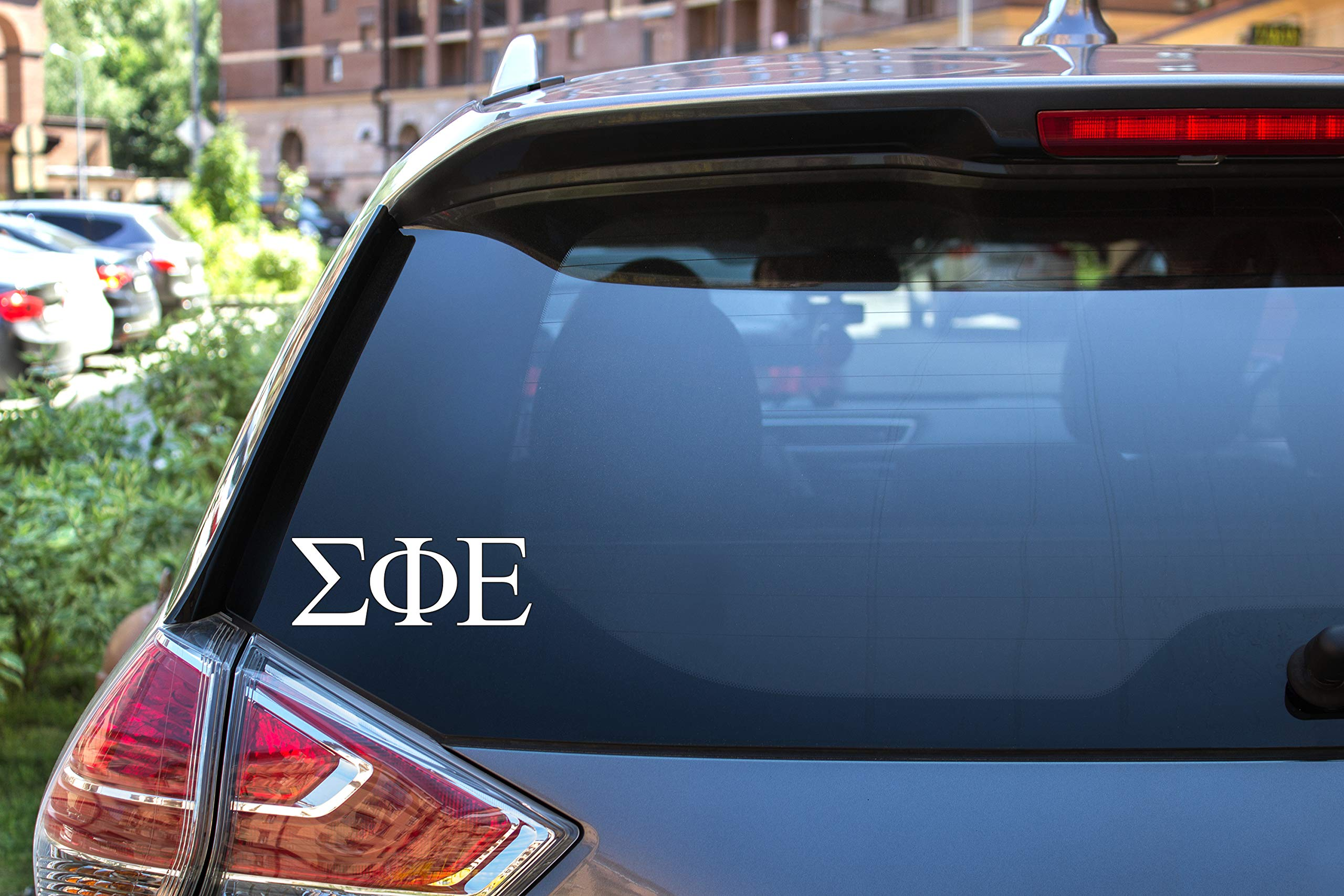 "Sigma Phi Epsilon Sticker Greek Sorority Decal for Car, Laptop, Windows, Officially Licensed Product, Monogram Design 2.5"" Tall - White"