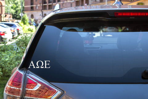 "Alpha Omega Epsilon Sticker Greek Sorority Decal for Car, Laptop, Windows, Officially Licensed Product, Monogram Design 2.5"" Tall - White"