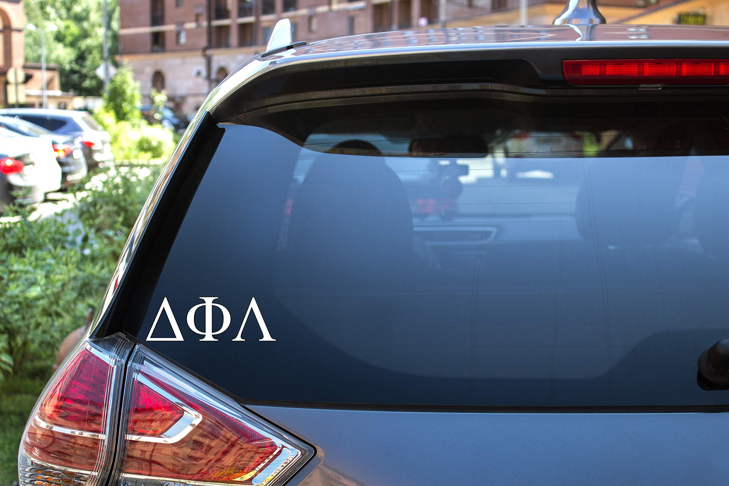 "Delta Phi Lambda Sticker Greek Sorority Decal for Car, Laptop, Windows, Officially Licensed Product, Monogram Design 2.5"" Tall - White"