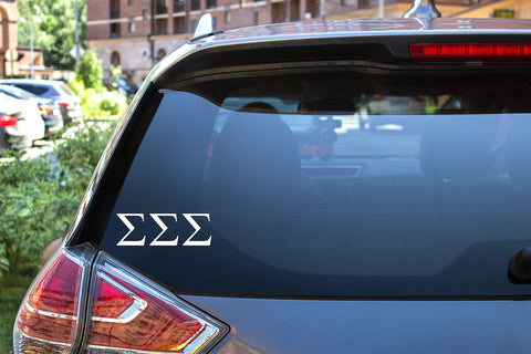 "Sigma Sigma Sigma Sticker Greek Sorority Decal for Car, Laptop, Windows, Officially Licensed Product, Monogram Design 2.5"" Tall - White"