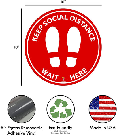 Social Distancing Floor Decal Stickers - 20 Decals of 6 Feet Specialized Sticker Markers. Stand Decal (20)