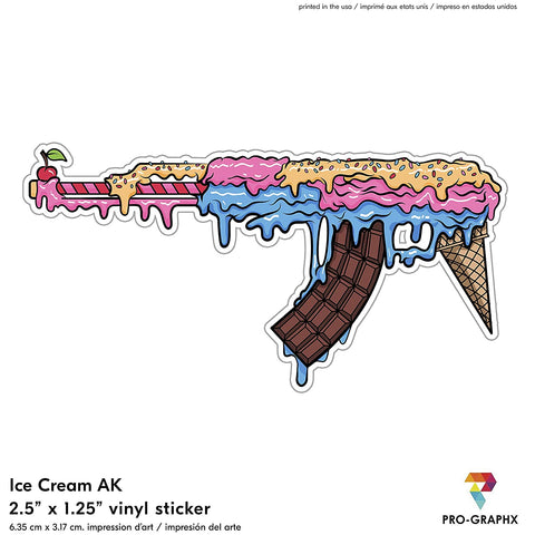 Pro-Graphx Ice Cream AK47 Vinyl Stickers for Laptop Car Truck Window Bumper Decor Notebook - Quarantine Self Isolation Logo Vinyl Decals Bumper Graphic Cartoon