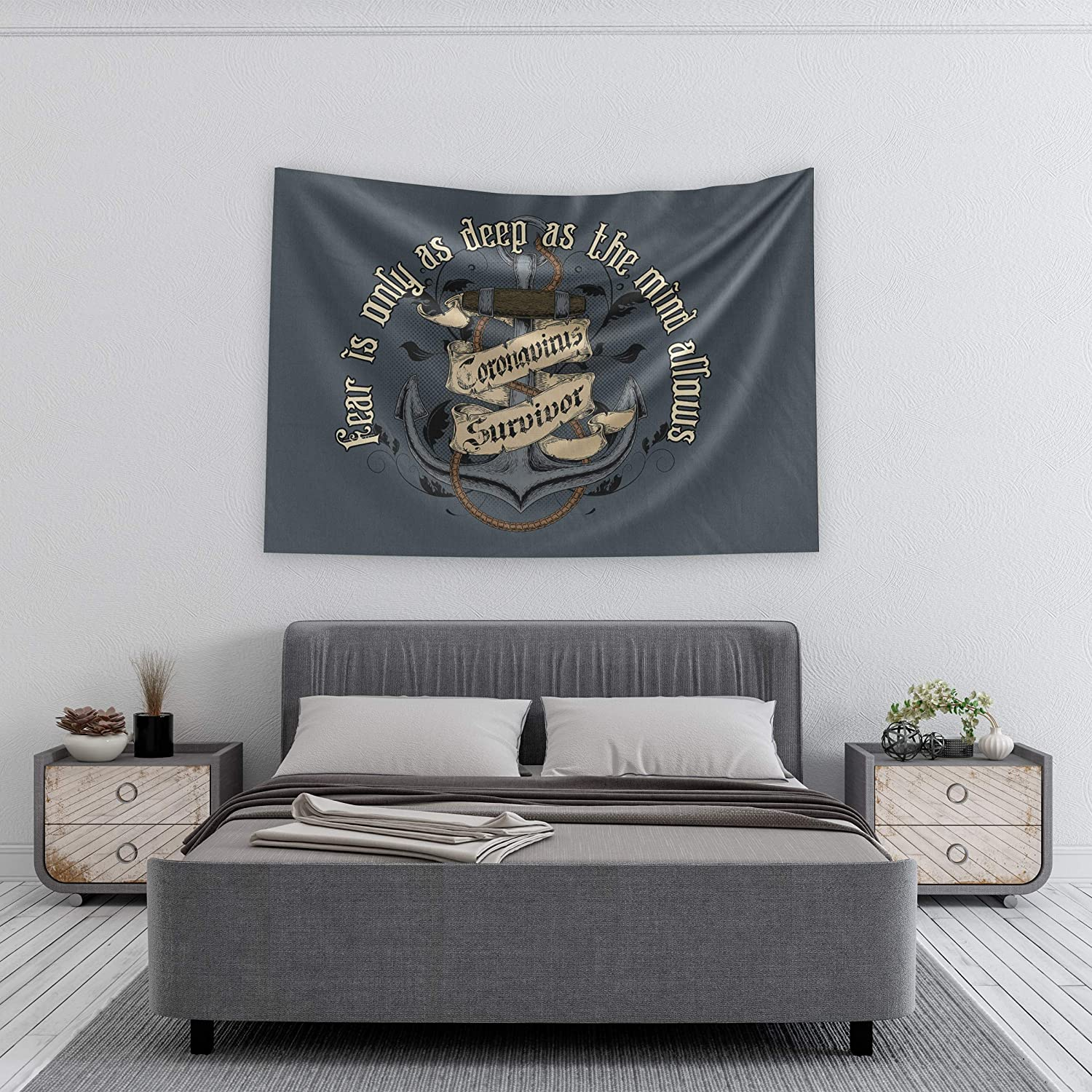 Pro-Graphx Coronavirus Flag COVID-19 Display Warning Quarantine Area Large Tapestry Decorative Banner Outdoor Stop The Spread Fight Against House Porch - 3' x 5' - Fearless