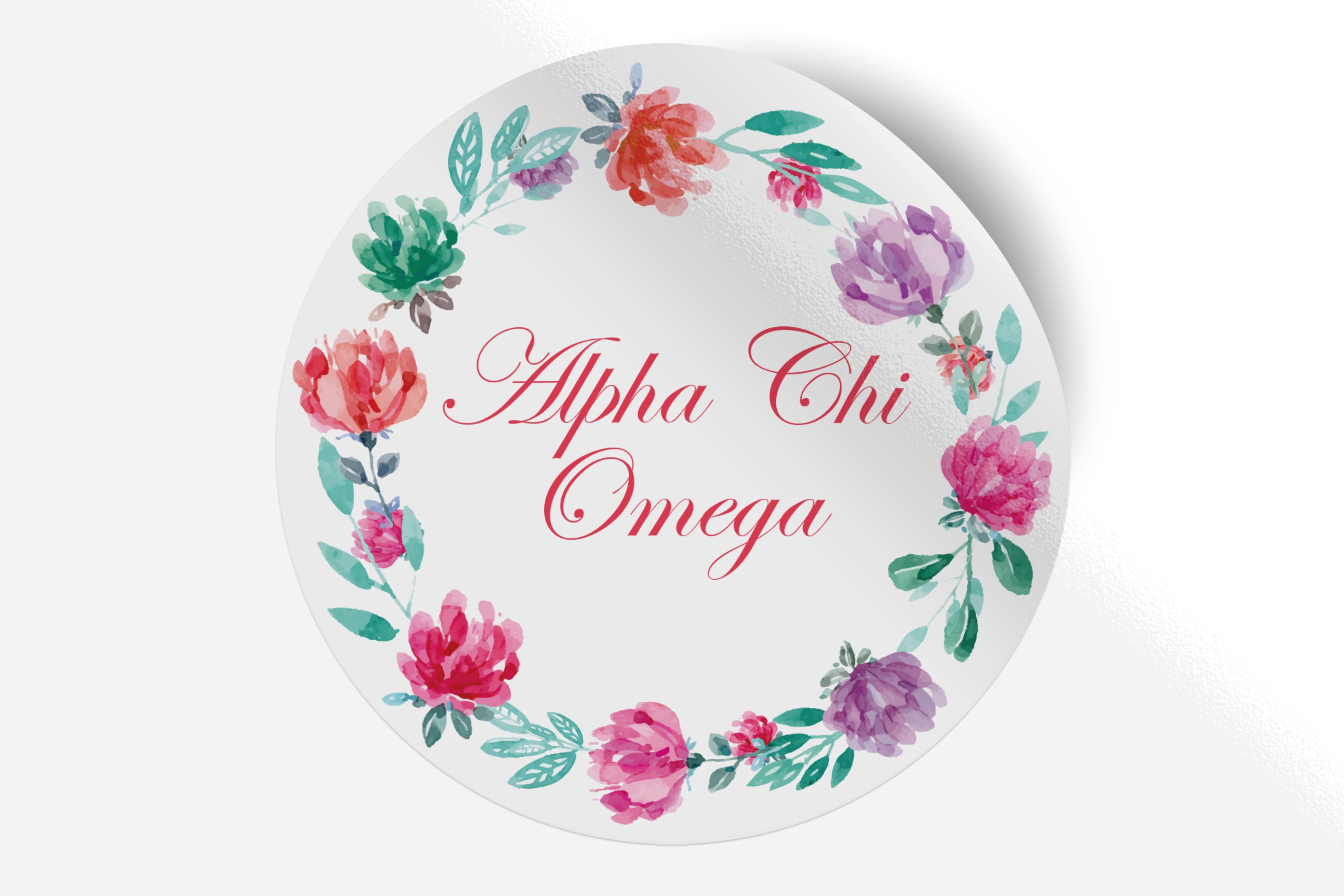 "Alpha Chi Omega - Watercolor Floral - 5"" Round Sticker"
