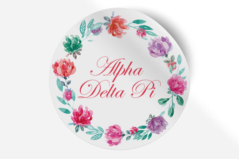"Alpha Delta Pi - Watercolor Floral - 5"" Round Sticker"